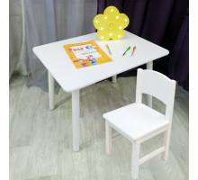 Комплект детской мебели столик круглые ножки и стульчик. (Столешница 70*50 см). Цвет белый. Арт. KNW7050W+SO-27