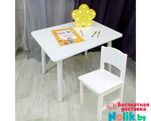 Комплект детской мебели столик круглые ножки и стульчик. (Столешница 70*50 см). Цвет белый. Арт. KNW7050W+SO-27 в Минске