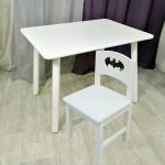 Столик круглые ножки и стульчик бетмен для детей. (Столешница травмобезопасные углы 70*50 см). Цвет белый. Арт. KNW7050W+SO-27-B