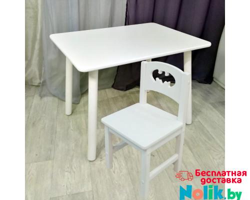 Столик круглые ножки и стульчик бетмен для детей. (Столешница травмобезопасные углы 70*50 см). Цвет белый. Арт. KNW7050W+SO-27-B в Минске