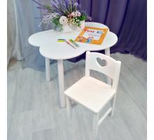 Комплект мебели столик облако круглые ножки и стульчик сердце деревянный для детей. (Столешница 70*50 см). Цвет белый. Арт. KNW7050-OW+SO-27-S