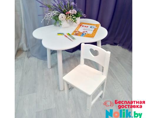 Комплект мебели столик облако круглые ножки и стульчик сердце деревянный для детей. (Столешница 70*50 см). Цвет белый. Арт. KNW7050-OW+SO-27-S в Минске