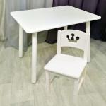 Детский столик круглые ножки и стульчик принцесса для детей. (Столешница травмобезопасные углы 70*50 см). Цвет белый. Арт. KNW7050W+SO-27-P