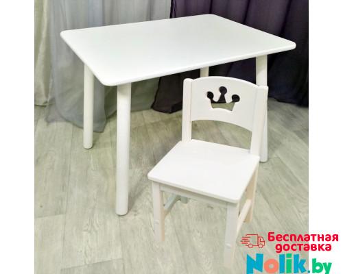 Детский столик круглые ножки и стульчик принцесса для детей. (Столешница травмобезопасные углы 70*50 см). Цвет белый. Арт. KNW7050W+SO-27-P в Минске