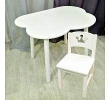Столик облачко круглые ножки и стульчик принцесса деревянный для детей. (Столешница 70*50 см). Цвет белый. Арт. KNW7050-OW+SO-27-P