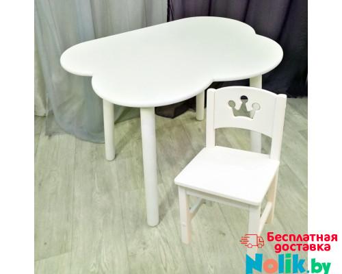Столик облачко круглые ножки и стульчик принцесса деревянный для детей. (Столешница 70*50 см). Цвет белый. Арт. KNW7050-OW+SO-27-P в Минске