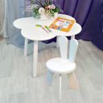 Деревянные детские столик облачко круглые ножки и стульчик зайчик. Столик (столешница 70*50). Цвет белый. Комплект мебели. Арт. KNW7050-OW+SZ-27-O