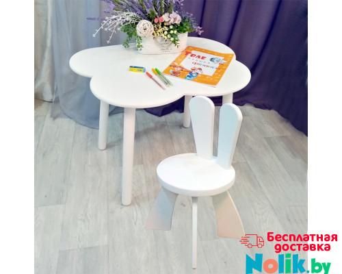 Деревянные детские столик облачко круглые ножки и стульчик зайчик. Столик (столешница 70*50). Цвет белый. Комплект мебели. Арт. KNW7050-OW+SZ-27-O в Минске