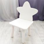 """Детский стульчик деревянный """"Звездочка"""". Высота до сиденья 27 см. Цвет белый. Арт. MD-27-Z"""