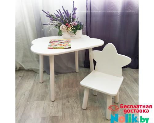 Детские стульчик звездочка и столик облачко круглые ножки . Столик (столешница 70*50). Цвет белый. Комплект мебели. Арт. KNW7050-OW+MD-27-Z в Минске