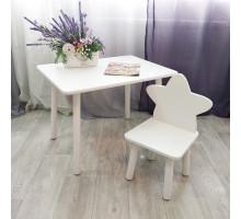 Столик круглые ножки и стульчик звездочка для детей. (Столешница травмобезопасные углы 70*50 см). Цвет белый. Арт. KNW7050W+MD-27-Z
