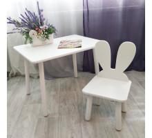 Детский столик круглые ножки и стульчик зайчик для детей. (Столешница травмобезопасные углы 70*50 см). Цвет белый. Арт. KNW7050W+MD-27-U