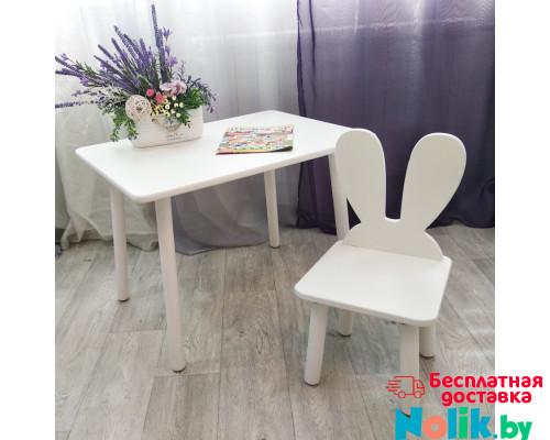 Детский столик круглые ножки и стульчик зайчик для детей. (Столешница травмобезопасные углы 70*50 см). Цвет белый. Арт. KNW7050W+MD-27-U в Минске