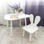 Комплект мебели. Стульчик зачик и столик облачко круглые ножки . Столик (столешница 70*50). Цвет белый. Арт. KNW7050-OW+MD-27-U