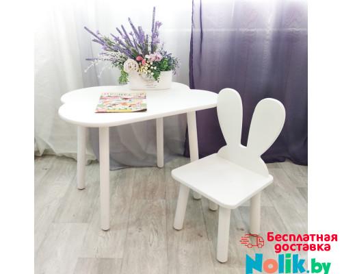 Комплект мебели. Стульчик зачик и столик облачко круглые ножки . Столик (столешница 70*50). Цвет белый. Арт. KNW7050-OW+MD-27-U в Минске