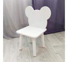 """Стульчик детский деревянный """"мишка"""". Высота до сиденья 27 см. Цвет белый. Арт. MD-27-M"""