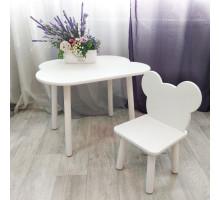 Комплект стульчик мишка и столик облачко круглые ножки . Столик (столешница 70*50). Цвет белый. Арт. KNW7050-OW+MD-27-M
