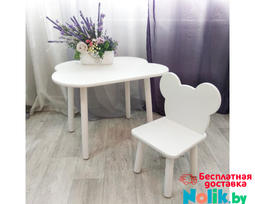 Комплект стульчик мишка и столик облачко круглые ножки . Столик (столешница 70*50). Цвет белый. Арт. KNW7050-OW+MD-27-M в Минске