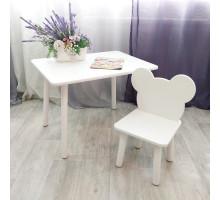 Детский столик и стульчик мишка для детей. (Столешница травмобезопасные углы 70*50 см). Цвет белый. Арт. KNW7050W+MD-27-M