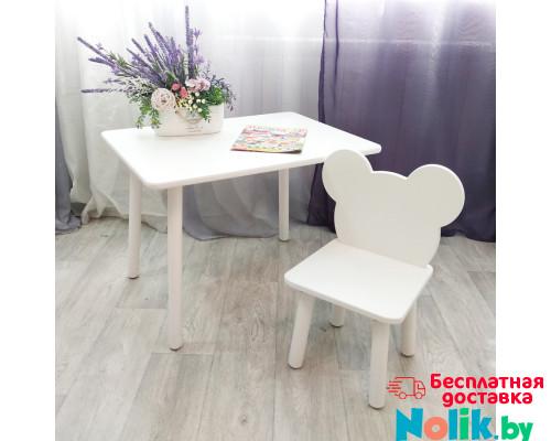 Детский столик и стульчик мишка для детей. (Столешница травмобезопасные углы 70*50 см). Цвет белый. Арт. KNW7050W+MD-27-M в Минске