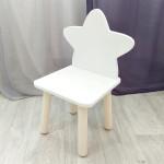 """Стульчик деревянный для детей """"Звездочка"""". Высота до сиденья 27 см. Цвет белый с  натуральным. Арт. MD-27-ZN"""