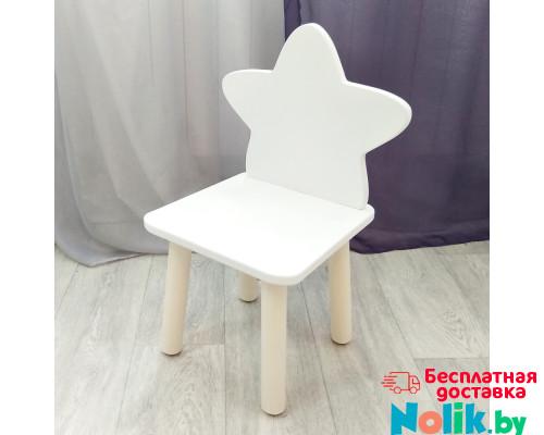 """Стульчик деревянный для детей """"Звездочка"""". Высота до сиденья 27 см. Цвет белый с  натуральным. Арт. MD-27-ZN в Минске"""