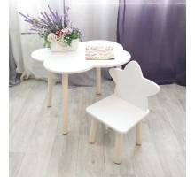 Детские стульчик звездочка и столик облачко круглые ножки . Столик (столешница 70*50). Цвет белый с натуральным. Комплект мебели. Арт. KN7050-ON+MD-27-ZN