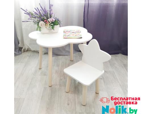 Детские стульчик звездочка и столик облачко круглые ножки . Столик (столешница 70*50). Цвет белый с натуральным. Комплект мебели. Арт. KN7050-ON+MD-27-ZN в Минске