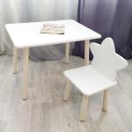 Столик круглые ножки и стульчик звездочка для детей. (Столешница травмобезопасные углы 70*50 см). Цвет белый с натуральным . Арт. KN7050W+MD-27-ZN