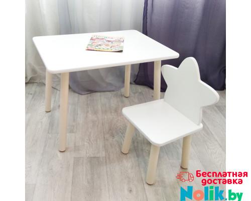 Столик круглые ножки и стульчик звездочка для детей. (Столешница травмобезопасные углы 70*50 см). Цвет белый с натуральным . Арт. KN7050W+MD-27-ZN в Минске