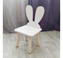 """Стульчик из дерева для детей """"Зайчик"""". Высота до сиденья 27 см. Цвет белый с натуральным. Арт. MD-27-UN"""