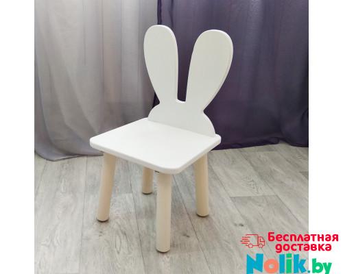"""Стульчик из дерева для детей """"Зайчик"""". Высота до сиденья 27 см. Цвет белый с натуральным. Арт. MD-27-UN в Минске"""