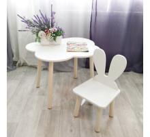 Стульчик Зайчик и столик облачко круглые ножки . Столик (столешница 70*50). Цвет белый с натуральным. Комплект мебели. Арт. KN7050-ON+MD-27-UN