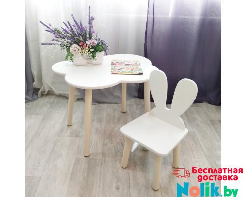 Стульчик Зайчик и столик облачко круглые ножки . Столик (столешница 70*50). Цвет белый с натуральным. Комплект мебели. Арт. KN7050-ON+MD-27-UN в Минске