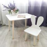 Столик прямоугольный круглые ножки и стульчик зайчик для детей. (Столешница травмобезопасные углы 70*50 см). Цвет белый с натуральным . Арт. KN7050W+MD-27-UN
