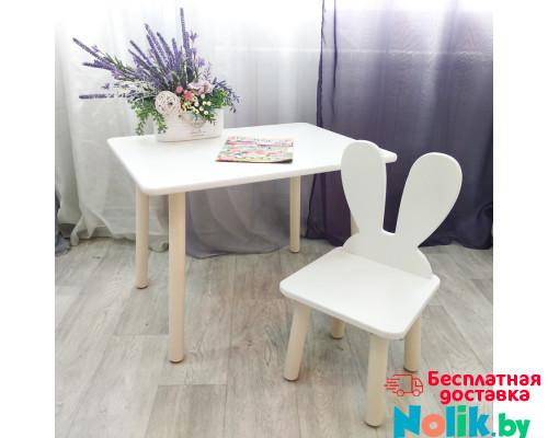 Столик прямоугольный круглые ножки и стульчик зайчик для детей. (Столешница травмобезопасные углы 70*50 см). Цвет белый с натуральным . Арт. KN7050W+MD-27-UN в Минске