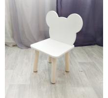 """Стульчик для детей """"Мишка"""". Высота до сиденья 27 см. Цвет белый с натуральным. Арт. MD-27-MN"""