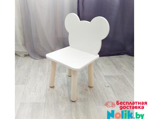 """Стульчик для детей """"Мишка"""". Высота до сиденья 27 см. Цвет белый с натуральным. Арт. MD-27-MN в Минске"""