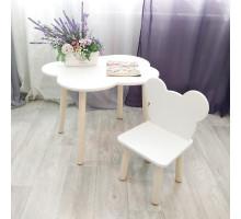 Комплект мебели. Детские стульчик Мишка и столик облачко круглые ножки . Столик (столешница 70*50). Цвет белый с натуральным. Арт. KN7050-ON+MD-27-MN