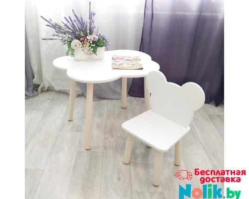 Комплект мебели. Детские стульчик Мишка и столик облачко круглые ножки . Столик (столешница 70*50). Цвет белый с натуральным. Арт. KN7050-ON+MD-27-MN в Минске