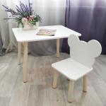 Детский столик круглые ножки и стульчик мишка для детей. (Столешница травмобезопасные углы 70*50 см). Цвет белый с натуральным . Арт. KN7050W+MD-27-MN
