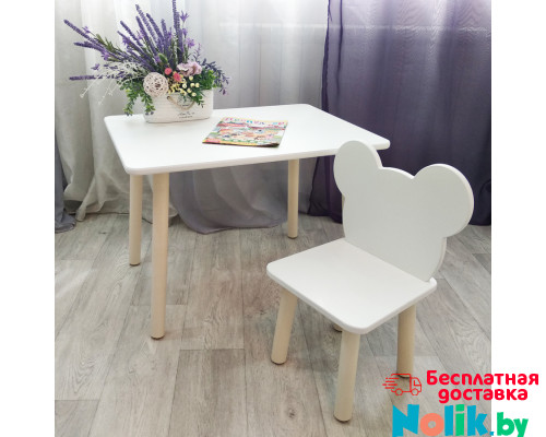Детский столик круглые ножки и стульчик мишка для детей. (Столешница травмобезопасные углы 70*50 см). Цвет белый с натуральным . Арт. KN7050W+MD-27-MN в Минске