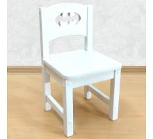 """Детский стульчик из массива деревянный """"Бэтмен"""". Высота до сиденья 30 см. Цвет белый. Арт. SO-30-b"""