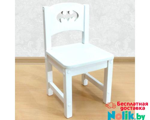 """Детский стульчик из массива деревянный """"Бэтмен"""". Высота до сиденья 30 см. Цвет белый. Арт. SO-30-b в Минске"""