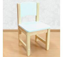 Детский стульчик деревянный из массива. Высота до сиденья 23 см. Цвет белый с натуральным. Арт. SN-23